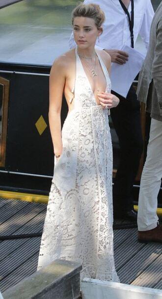 dress maxi dress summer dress white lace dress white dress amber heard plunge v neck celebrities in white