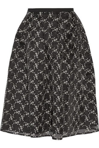 skirt embroidered black silk