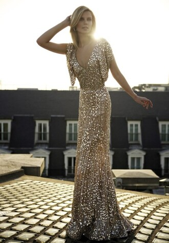 dress gold prom evening outfits clothes beautiful sparkly dress sequins