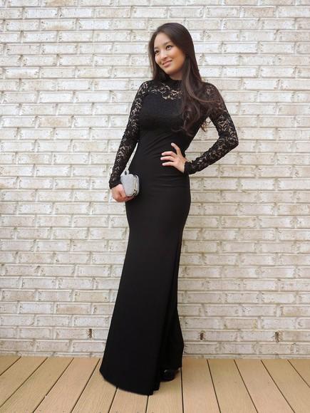 prom dress long prom dresses lace dress sensible stylista blogger jewels bag bodycon dress long sleeve dress black dresses