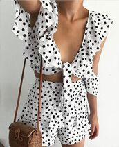 top,nouveau riche boutique,spots,black,whites,spotty,crop,crop tops,set,matching set,co ord