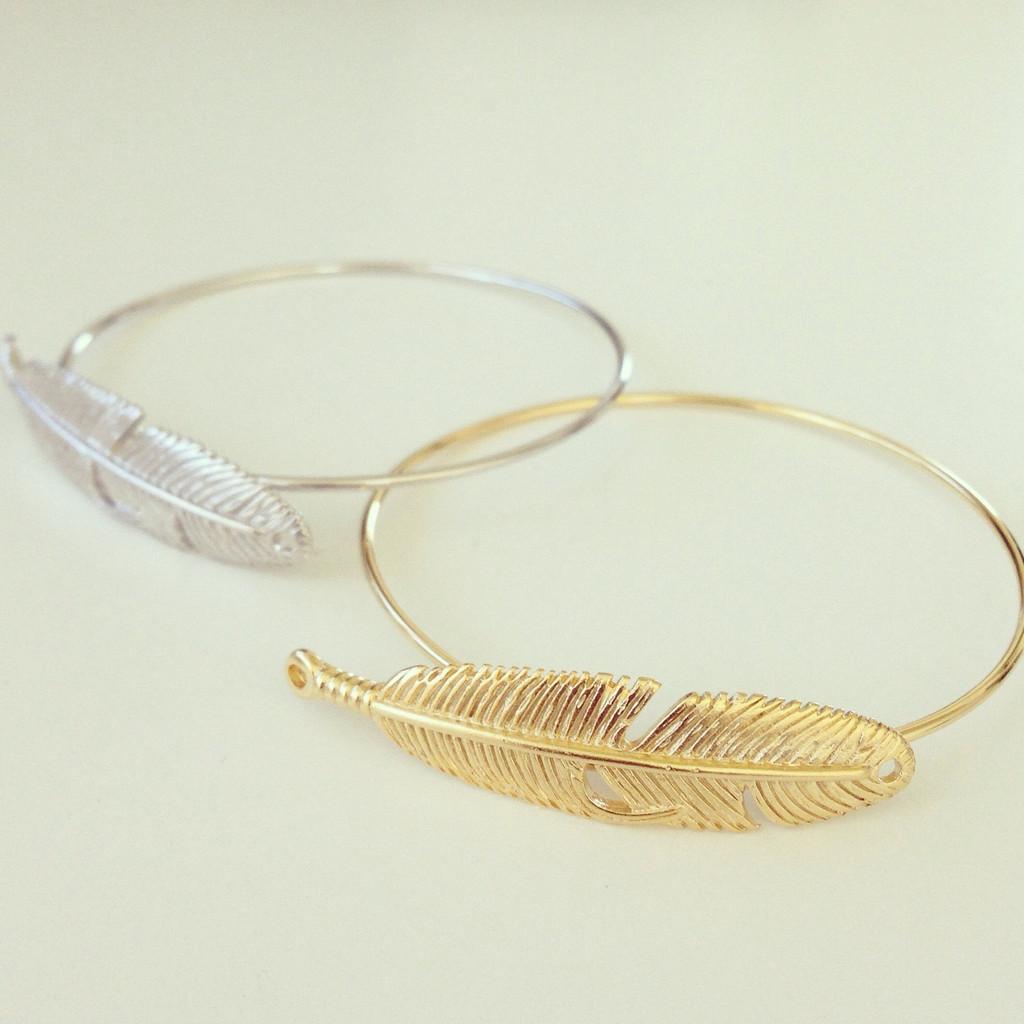 Feather Bangle Bracelet