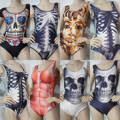 Women Skeleton Skulls Muscle Anatomy Sugar Skull Bodysuit Swimsuit Bathing Suit | eBay