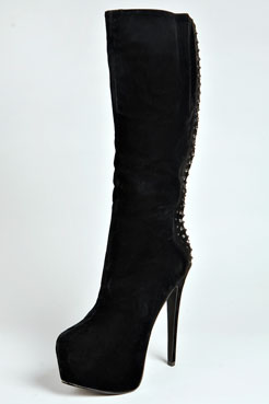 Alexa Suedette Studded Platform Knee High Boot at boohoo.com