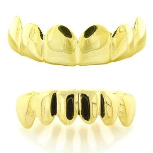 Amazon.com: premium iced out hip hop 14k gold plated playa solid bottom and top removable grillz set: jewelry