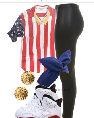 blouse black leggings blue american flag shirt leather leggings jordans red white black stars
