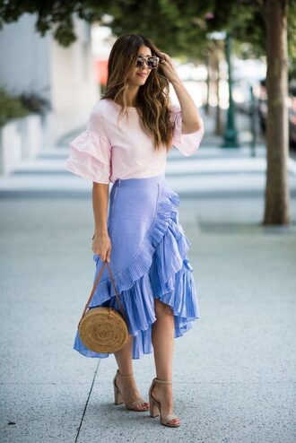 top tumblr bell sleeves pink top skirt wrap ruffle skirt ruffle wrap skirt midi skirt asymmetrical asymmetrical skirt bag round bag sandals sandal heels high heel sandals shoes