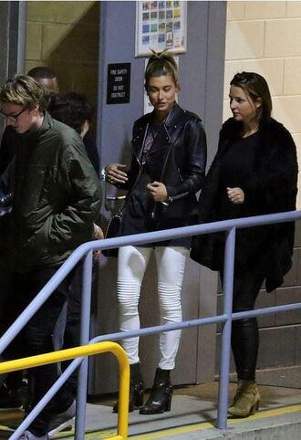 jeans jacket biker jacket hailey baldwin boots white jeans