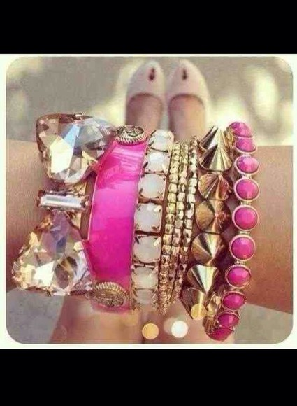 jewels bangle bracelets pink gold stud cute girly