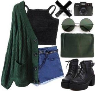 tank top 90s style boots platform shoes platform boots round sunglasses high waisted shorts shoes blouse forest green cardigan top black crop top