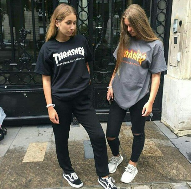 aa660a6d2384 t-shirt shirt grey shirt thrasher thrasher shirt grey black dark outfit grey  t-