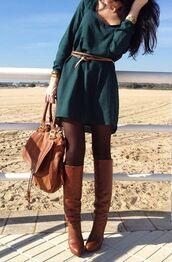 dress,long sleeve dress,shoes,forest green,belt,bag,sweater dress,winter sweater,fall dress,green dress,fall outfits,green,pinterest,blouse,weheartit