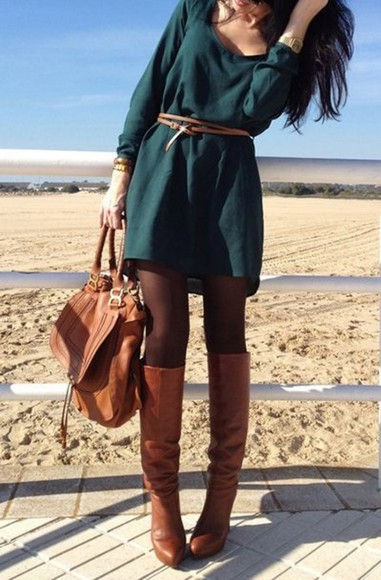 fall outfits fall dress shirt dress green dress olive green shoes dress long sleeve dress brown tights gloves bag Belt