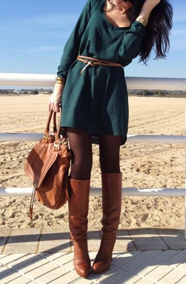dress long sleeve dress shoes forest green belt bag sweater dress winter sweater fall dress green dress fall outfits green pinterest blouse weheartit