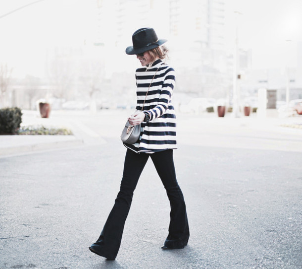 happily grey blogger hat striped sweater wide-leg pants