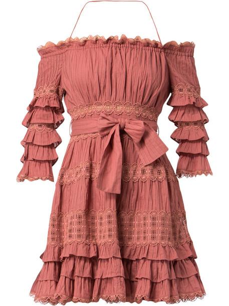 Zimmermann dress women cotton purple pink