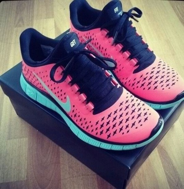 shoes nike free run pink teal running shoes