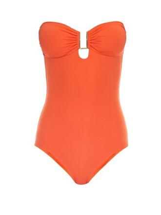 bandeau swimsuit orange swimwear