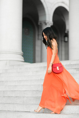 wendy's lookbook blogger bag jewels orange dress red bag maxi dress streetwear nordstrom stuart weitzman chloe