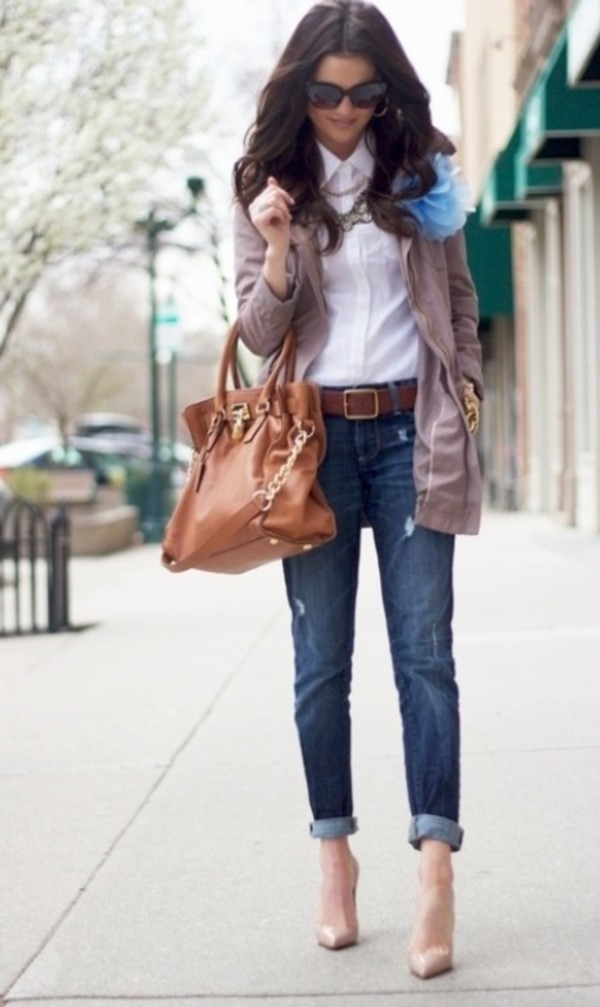 jeans boyfriend jeans shirt jacket shoes sunglasses bag