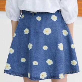 skirt denim blue jeans summer spring floral daisy girly boogzel