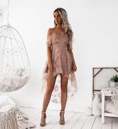 dress,pink,blush,cold shoulder dress,high low,high low dress,lace,frill,chic