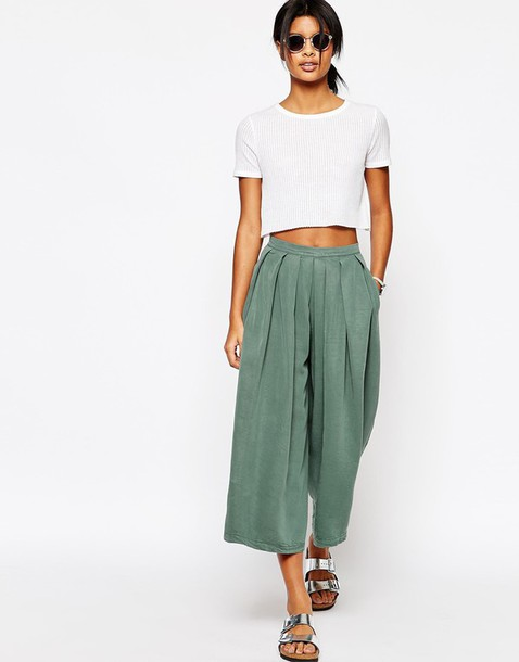 Pants: wide-leg pants, green, pleated, cropped pants, crop tops ...