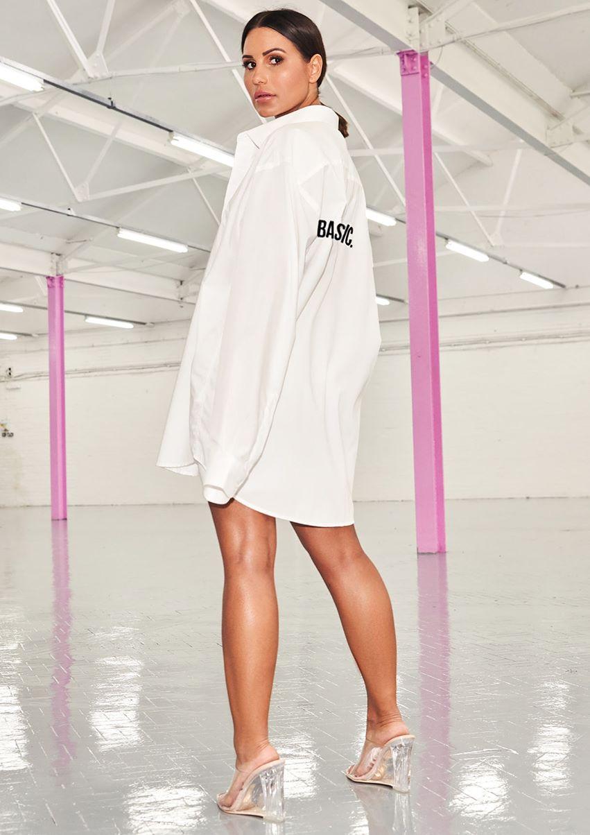 Nicole White Basic Slogan Oversized Shirt