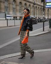 pants,checkered pants,flare pants,clutch,cropped jacket,sweater,sunglasses