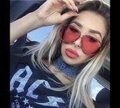 sunglasses,red,make-up,aviator sunglasses,round sunglasses,pink sunglasses,mirrored sunglasses,lipstick,eye makeup,acrylic nails,jeans,pants,dress
