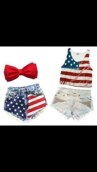 bandeau high waisted shorts red white blue jeans shorts high wasted bow bandeau bows american flag shorts american apparel shorts