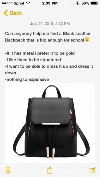 Bag: black, leather, leather bag, back to school, style, gold ...