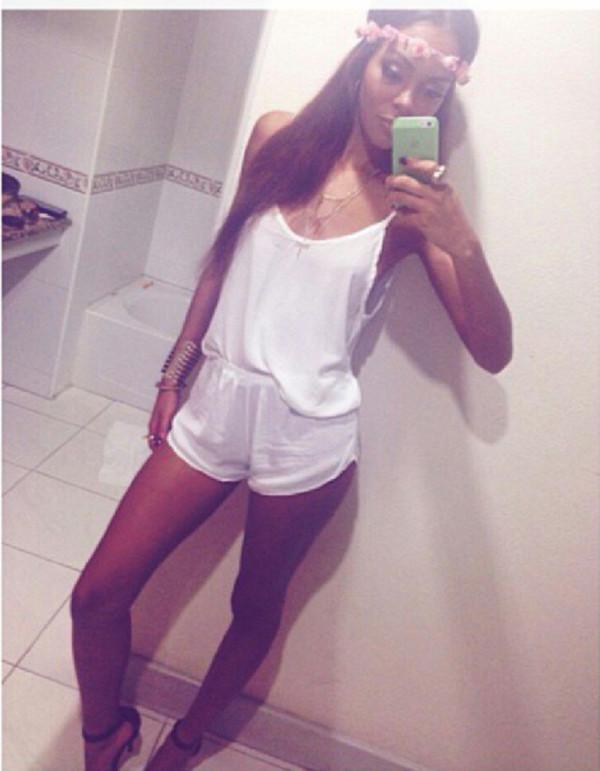 shorts jumper white jumpsuit
