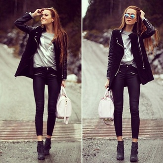 coat black leather wool jacket black leather jacket black leather leather jacket wool t-shirt jeans