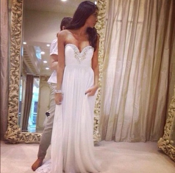 dress maxi dress prom dress white dress white jewels pearls