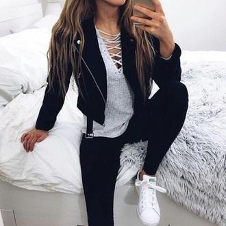 black jacket grey top lace up black leggings leggings white sneakers snekers shirt lace up top