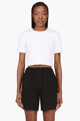 T By Alexander Wang White Embossed Grid Print Blouse for women | SSENSE