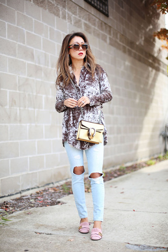 fashion-a-holic - chicago fashion blog blogger jeans shoes bag sunglasses jewels top crossbody bag loafers shirt tumblr silver grey velvet denim light blue jeans ripped jeans yellow bag gucci gucci bag dionysus pilgrim shoes pink shoes high heel loafers gucci shoes