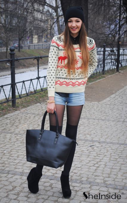 Beige Long Sleeve Deer Print Loose Pullovers Sweater - Sheinside.com