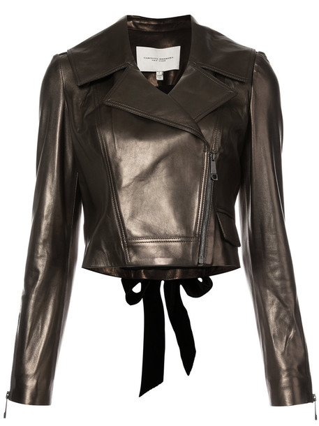 jacket biker jacket women classic silk grey metallic