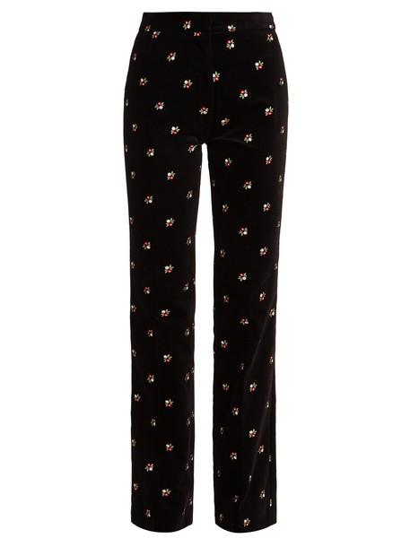 ALEXACHUNG embroidered floral cotton velvet black pants