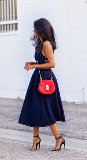 shoes,blue dress,blue midi dress,midi dress,barely there heels,animal print heels,chloe drew bag,red crossbody bag,streetstyle
