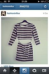 dress,black,white,pattern,geometric,skirt,top,long sleeve top,pencil skirt