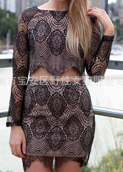 Through lace long sleeve blouse dress