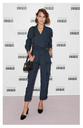 jumpsuit navy alexa chung fashion week purse