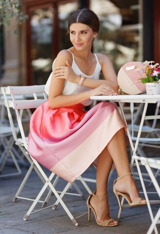 top cami top white top skirt pink skirt striped skirt midi skirt sandals sandal heels high heel sandals nude sandals bag round bag pink bag the mysterious girl blogger