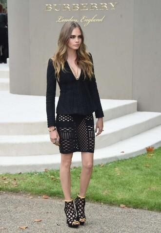 skirt mesh cara delevingne all black everything fashion week burberry jacket