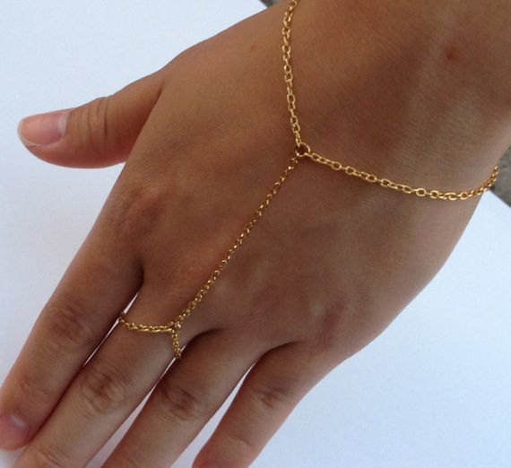 Gold Chain Linked Ring Bracelet  Hand Jewelry  Hand by ECRUmetal