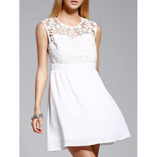 dress white fashion style trendy lace summer cute spring girly rosewholesale.com