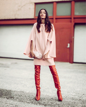 dress,tumblr,mini dress,pink dress,long sleeves,long sleeve dress,boots,red boots,over the knee